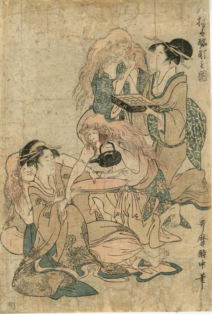 <i>7 Imaginary Chinese Creatures</i> (<i>shōjō</i>)<i> in a Drunken State</i> (<i>Shichi-nin shōjō zuburoku no zu</i> - 七人猩々酩酊之図) - left panel of a triptych