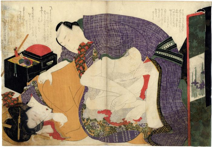 Scene from <i>Ehon tsui no hinagata</i> ('Picture-book of Patterns of Loving Couples' - 絵本つひの雛形)