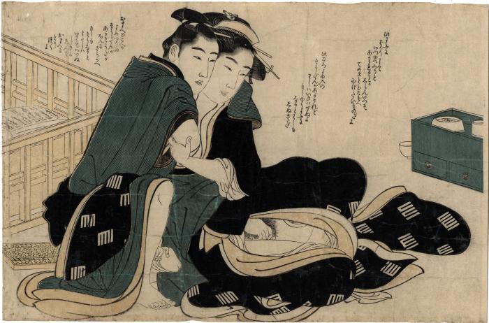 Shunga print attributed to Utamaro, but possibly by Shunman