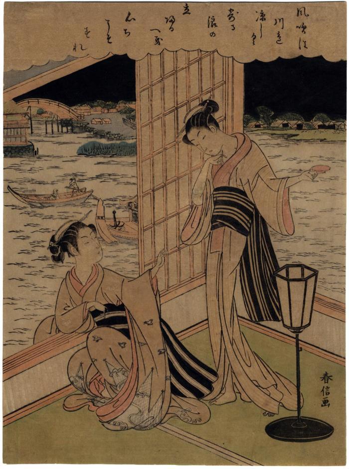 Two bijin enjoying a summer evening along the Sumida in Edo