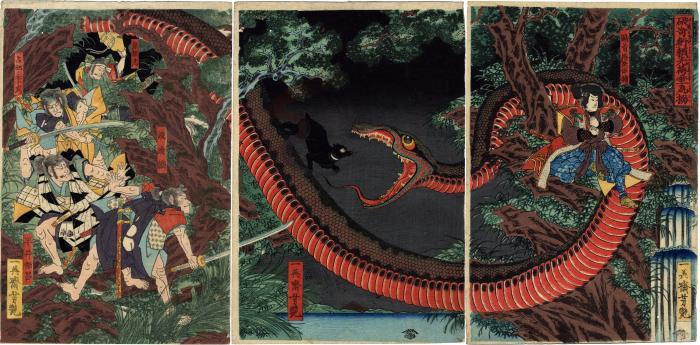 Yorimitsu Tries to Capture Hakamadare by Destroying His Magic (<i>Kijutsu o yabutte Yorimitsu Hakamadare o karamen to su</i> - 破奇術頼光袴垂為搦)