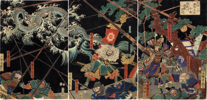 At the Battle of Takadachi in Ōshū Province in 1187, a White Dragon Ascends to Heaven from the Koromo River (<i>Bunji sannen Ōshū Takadachi kassen Koromogawa yori hakuryū ten e noboru</i>  - 文治三年奥州高館合戦自衣川白竜昇天)