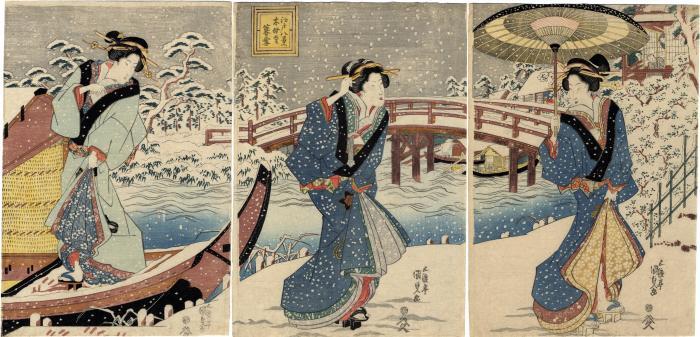 Twilight Snow at Mokuboji (<i>Mokuboji bosetsu</i>木母寺暮雪) from the series <i>Eight Views of Edo</i> (<i>Edo hakkei</i> - 江戸八景)