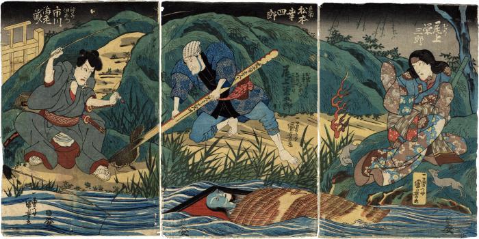 Onbō canal scene from the <i>Tōkaidō Yotsuya Kaidan</i> with Ichikawa Ebizō V (市川海老蔵) on the left as Kamiya Iemon (神谷伊右衛門), Matsumoto Kōshirō V (松本幸四郎) as Naosuke (直助), Iemon's assistant, Onoe Kikugorō III (尾上菊五郎) as Oiwa floating in the river, and Onoe Eizaburō III (尾上栄三郎) on the right as Oyumi (お弓)