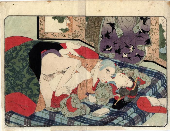 Priest having sex with a boy prostitute (<i>kagema</i> - 蔭間) - from <i>Ama no Ukibashi</i> - 'The Floating Bridge of Heaven'