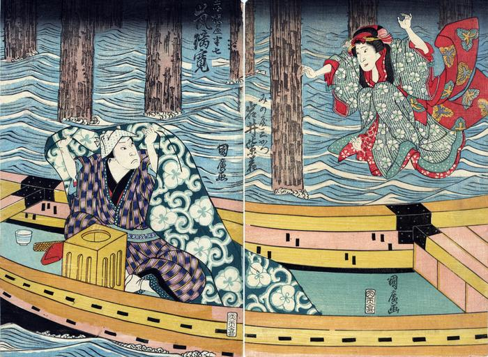 Iwai Shijaku I (岩井紫若) as the courtesan Minoya Sankatsu (みの屋三勝), jumping into a boat from a bridge to join her lover Arashi Rikan II (嵐璃寛) as Akaneya Hanshichi (赤根屋半七) in the play <i>Daigashira Midori no Iromaku</i> [台頭緑色幕]