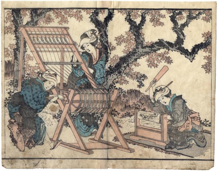 Fulling and a threading loom - two page illustration from the <i>Hokusai gafu</i> or 'Hokusai Picture Book'