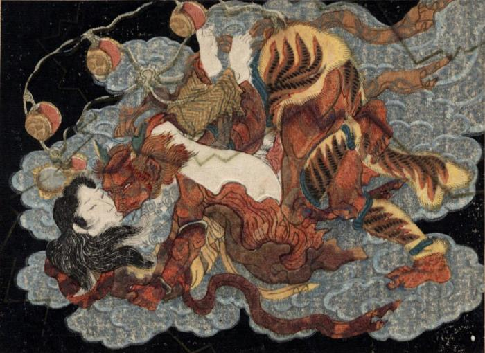 A tattooed woman having sex with Raijin, the god of thunder and lightning