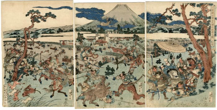 Minamoto Yoritomo's hunting party in the foothills below Mt. Fuji - <i>Minamoto Yoritomo kō Fuji no susono makigari no zu</i> (源頼朝公富士之裾野牧狩之図)