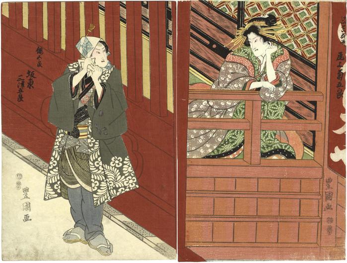 Early kabuki diptych of Bandō Mitsugorō III (坂東三津五郎) on the left and Onoe Kikugorō III (尾上菊五郎) on the right