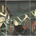 'An Old Tale of Conflict in the East' (<i>Mukashi gatari Azuma no tatehiki</i> - 昔語東の立引) - Nakamura Shikan IV [四代目中村芝翫] as Yottsuibishi Chōgorō (四ツイ菱長五郎) on the right, Bandō Hikosaburō V [五代目坂東彦三郎] as Kogashira Mekurajimanohiko (小頭めくら島ノ彦) in the center, Bandō Kamezō I as the <i>otokodate</i> Kanehara or Kinbara no Kamezō and Ichikawa Ichizō III as Mitsuhiki Ichigorō (三ッ引市五郎) on the left