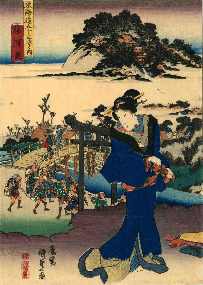 View of Fujisawa (<i>Fujisawa no zu</i>: 藤沢図) from the chuban series Fifty-three Stations of the Tōkaidō Road (<i>Tōkaidō gojūsan tsugi no uchi</i>: 東海道五十三次之内)