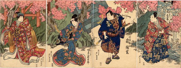 From right to left: Arashi Sangorō IV (嵐三五郎) as Sonobe no Saemon (園部ノ左衛門), Arashi Rikan II (嵐璃寛) as the footman Tsumahei (奴妻平), Bandō Jūtarō (坂東寿太郎) as Magaki (まかき) and Fujikawa Tomokichi II (藤川友吉) as Usuyuki-hime (薄雪姫)