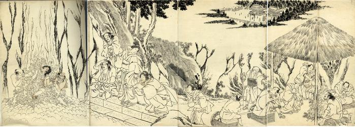 Preliminary drawing (<i>shita-e</i>) for a tetraptych - Utagawa School - A place of pilgrimage - a temple district with waterfall