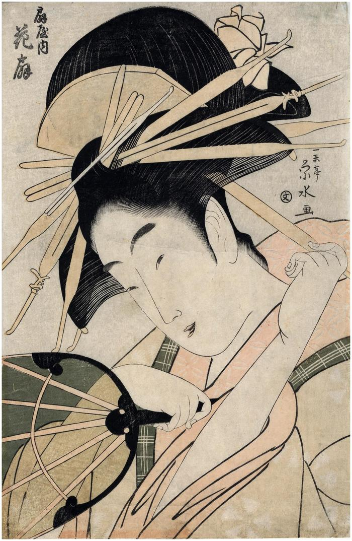 The courtesan Hanaōgi (花扇) of the Ōgi House (扇屋内) - <i>Ōgiya uchi Hanaōgi </i>