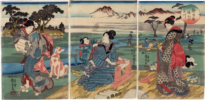 The Cloth-fulling Jewel River in Settsu Province (<i>Settsu no kuni Tōi no Tamagawa</i> - 摂津国檮衣の玉川) from an  untitled triptych series of the 'Six Jewel Rivers' (<i>Mu Tamagawa</i> - 六玉川)
