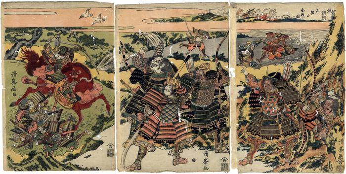 Warrior (<i>musha-e</i>) triptych showing scenes from the life of Minamoto no Yoritomo (源頼朝)