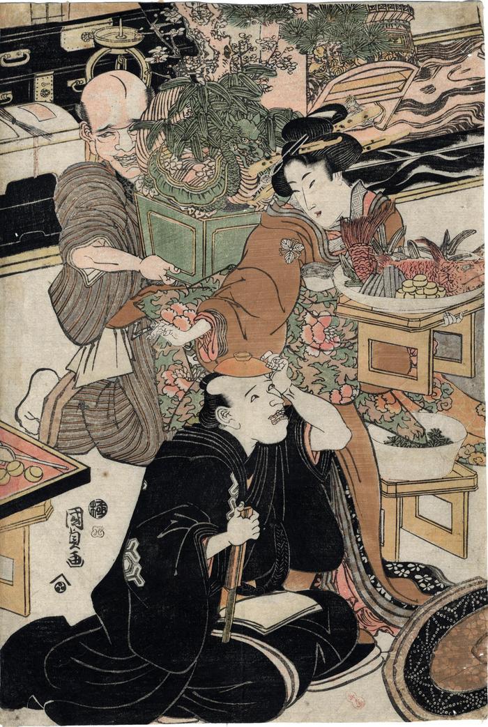Parody of the Seven Gods of Good Fortune in the Pleasure Quarters (<i>Seirō mitate</i> - 青楼見立  [<i>Shichifukujin</i> - 七福神])