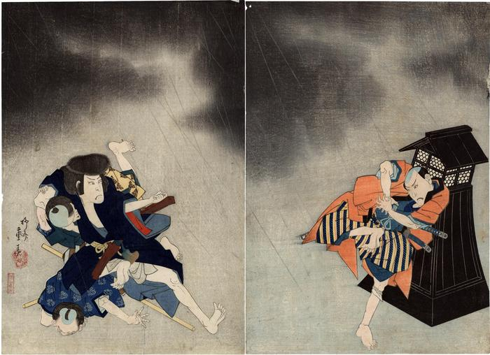 Nakamura Tōzō III as Iwase Kibunta and Nakamura Utaemon III as Jiraiya on the left in the play <i>Yaemusubi Jiraiya Monogatari</i>[柵自来也談] - 'The story of Jiraiya at the weir'