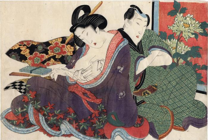An amorous couple with a woman tying off an undergarment from the series 'Secret Conversations with Courtesans' (<i>Keisei higo</i> - 契情秘語)