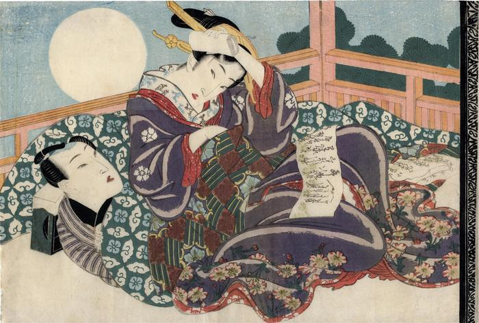 Amorous couple with the moon and a love letter 'Secret Conversations with Courtesans' (<i>Keisei higo</i> - 契情秘語)