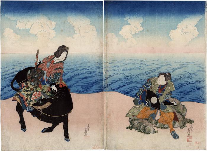 Arashi Rikan II as Chinzei Hachirō Tametomo and Iwai Shijaku I as Neiwanjo [ねいわん女] in the play <i>Shimameguri Tsuki no Yumihari</i> [嶋巡月弓張]