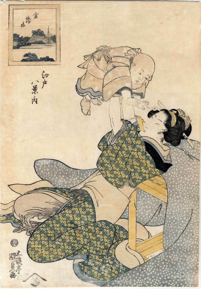 Mother and child: Kinryūzan (金竜山) from the series <i>Eight Views of Edo</i> (<i>Edo hakkei no uchi</i> - 江戸八景ノ内)