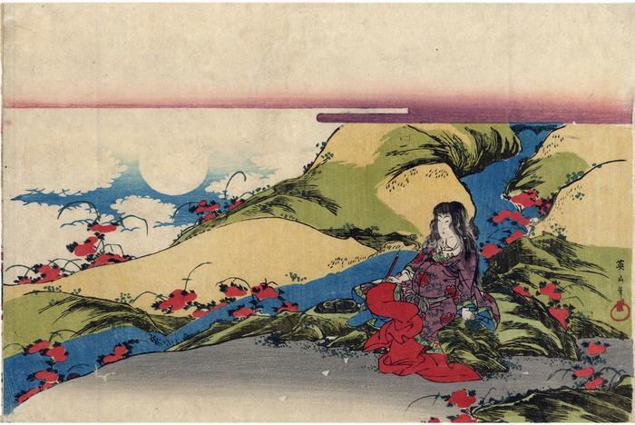 Scene from the <i>noh</i> play, <i>The Chrysanthemum Boy</i> (<i>Kikujidō/Makurajidō</i> - 菊慈童)