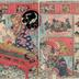 A Wheat Straw Crafted Spectacle (<i>Mugiwara hari saiku shō utsushi</i>: 麦藁細工見世物) - the two right-hand panels of a four piece composition
