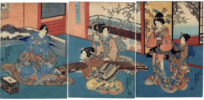 A Rustic Genji triptych - spring - 'Kō ni sasou Haru no tsumeoto' (香誘春爪音)
