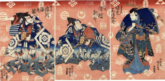 Three actors with multiple mon as a backdrop: Bandō Mitsugorō IV (坂東三津五郎) as Kudō Suketsune  on the right; in the center is Sawamura Tosshō I (澤村訥升) as Soga Jūrō and Ichikawa Ebizō V (市川海老蔵) playing Soga Gorō on the left