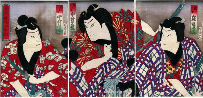 Arashi Rikan IV  (嵐璃寛) as Sakuramaru (桜丸), Nakamura Shikan IV (中村芝翫) as Matsuōmaru (松王丸) and Nakamura Fukusuke III (中村福助) as Umeōmaru (梅王丸) in the play <i>Sugawara denju tenarai kagami</i> (菅原伝授手習鑑)