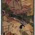 Pillar print of a Okaru [おかる] looking down at Ōboshi Yuranosuke [大星由良之助] - from the 'Gion Ichiriki Jaya' scene (段目) VII of the <i>Kanadehon Chūshingura</i> ('Copybook of the Treasury of Loyal Retainers': 仮名手本忠臣蔵)