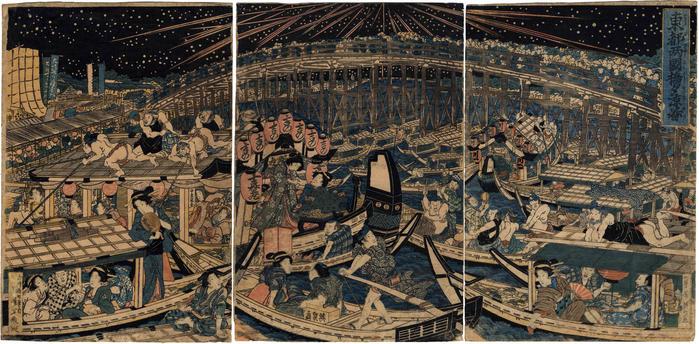 A cool evening watching fireworks at Ryōgoku Bridge, Edo (<i>Toto Ryōgokubashi Yusuzumi no zu</i> - 東都両国橋夕涼図)