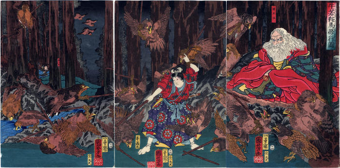 Ushiwakamaru being taught swordsmanship on Mt. Kurama (<i>Ushiwaka Kurama shugyō zu</i> - 牛若鞍馬修行図)