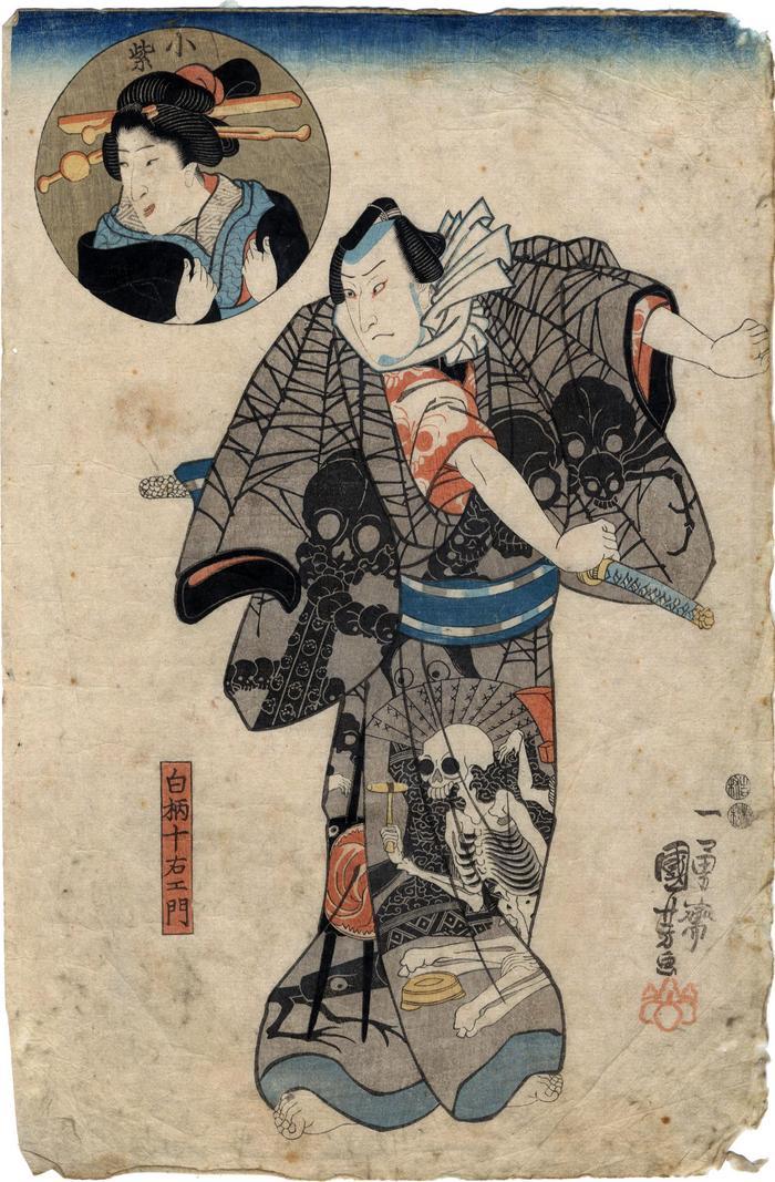 An actor, possibly Sawamura Sōjūrō V as Shirogara Jūemon (白柄十石工門) wearing a skull and spider kimono - the inset in the upper left is Bandō Shūka I as Komurasaki (小紫)