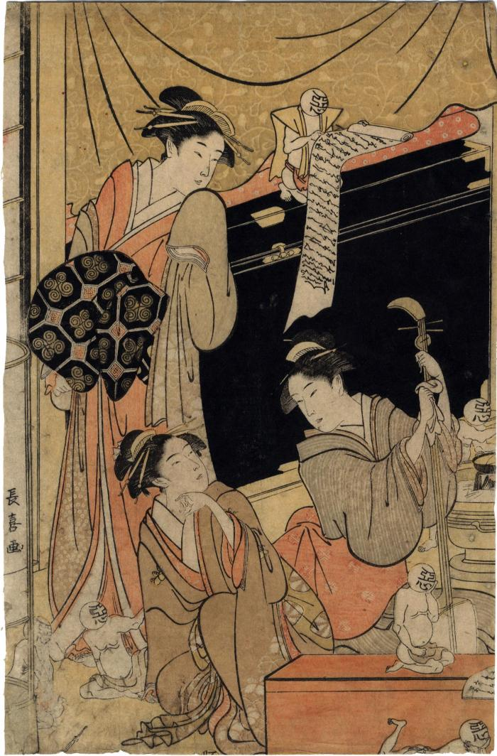 Courtesans in a brothel - left-hand panel from a triptych showing the forces of good and evil influences in the red-light district (遊郭善玉悪玉)