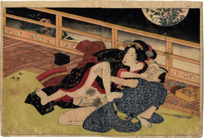 From volume 2, a couple making love on a terrace from <i>In Praise of Love, in the Four Seasons</i> <i>Shunka shūtō, Shiki no nagame</i> - 春夏秋冬 - 色の詠