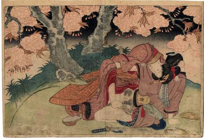 From volume 1, a couple having sex under a blossoming tree from <i>In Praise of Love in the Four Seasons</i> (<i>Shunka shūtō, Shiki no nagame</i> - 春夏秋冬 - 色の詠)
