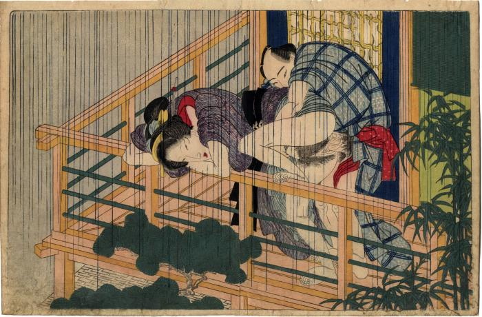 From volume 2, a couple having sex on a balcony on a  <br> rainy day from <i>In Praise of Love in the Four Seasons</i> <br> (<i>Shunka shūtō, Shiki no nagame</i> - 春夏秋冬 - 色の詠)