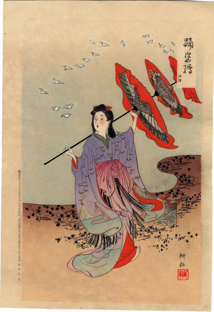 Illustration of Dancers: 'Odori Sugata-e' (踊姿絵) <i>Shiomai</i> (汐汲)